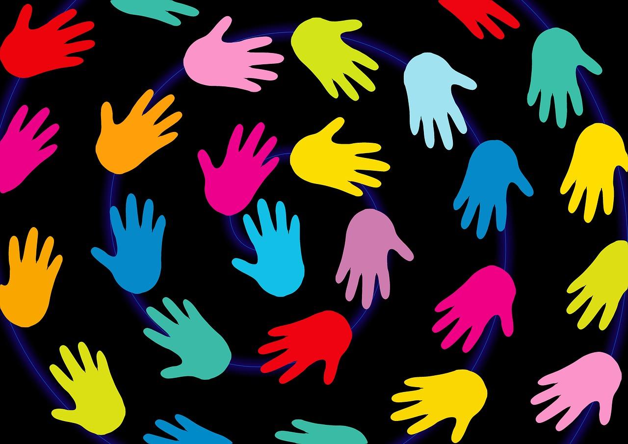 Hands in a swirling pattern